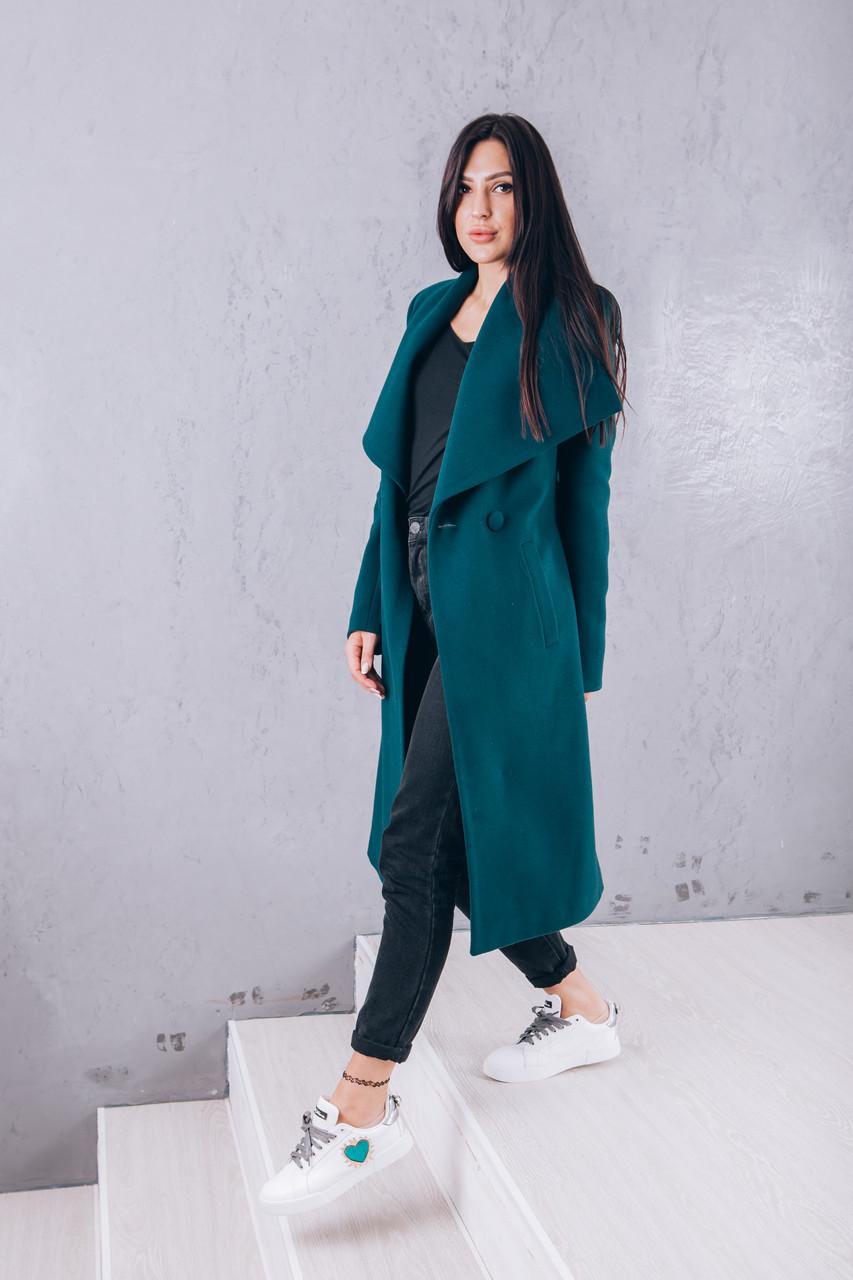 Пальто кашемировое длинное изумруд Д346