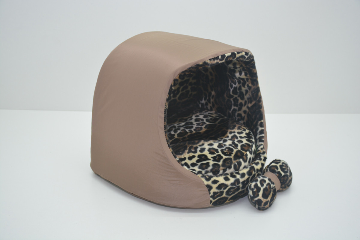 Будка для котов и собак Леопард коричневый