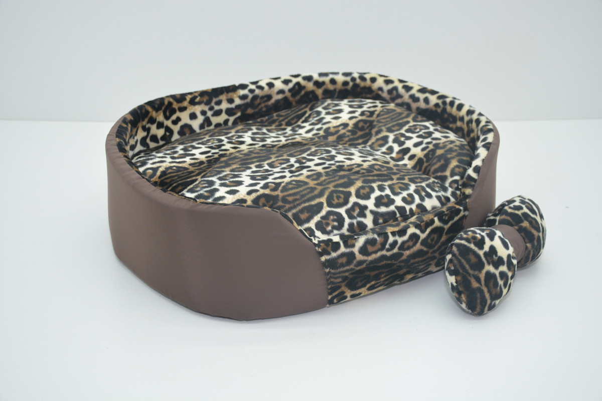 Лежак для котов и собак Леопард коричневый