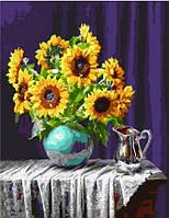 Картина по номерам   Подсолнухи в вазе