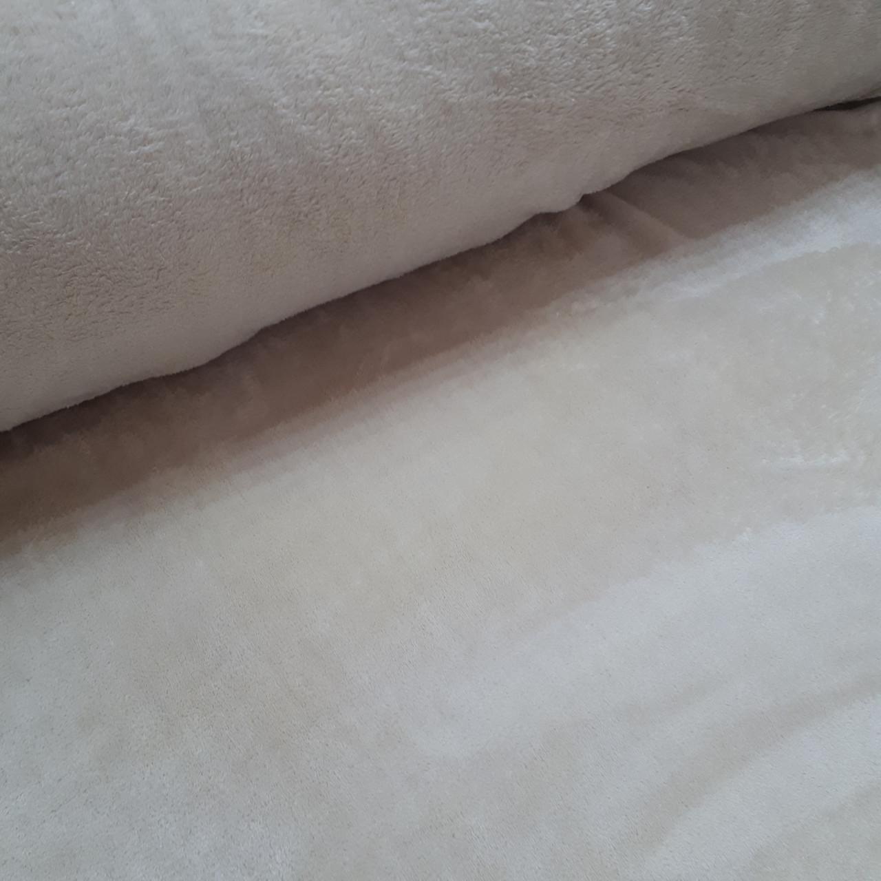Плюшевая ткань двусторонняя серо-бежевая