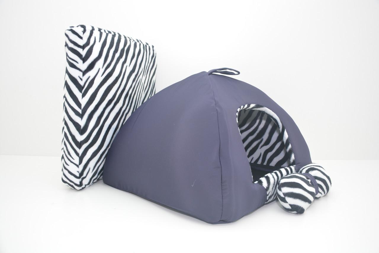 Домик юрта для котов и собак Леопард синий