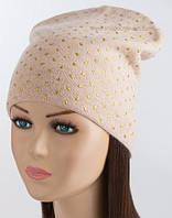 Вязаная женская шапочка Кунжут жемчуг