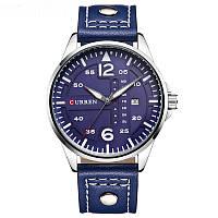 Наручные часы CURREN 8224 мужские кварцевые водонепроницаемые часы с PU кожаным ремешком Синий (SUN1971)