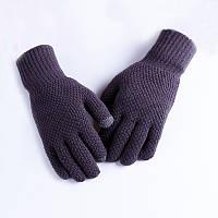 Мужские теплые серые трикотажные перчатки осень-зима, фото 1