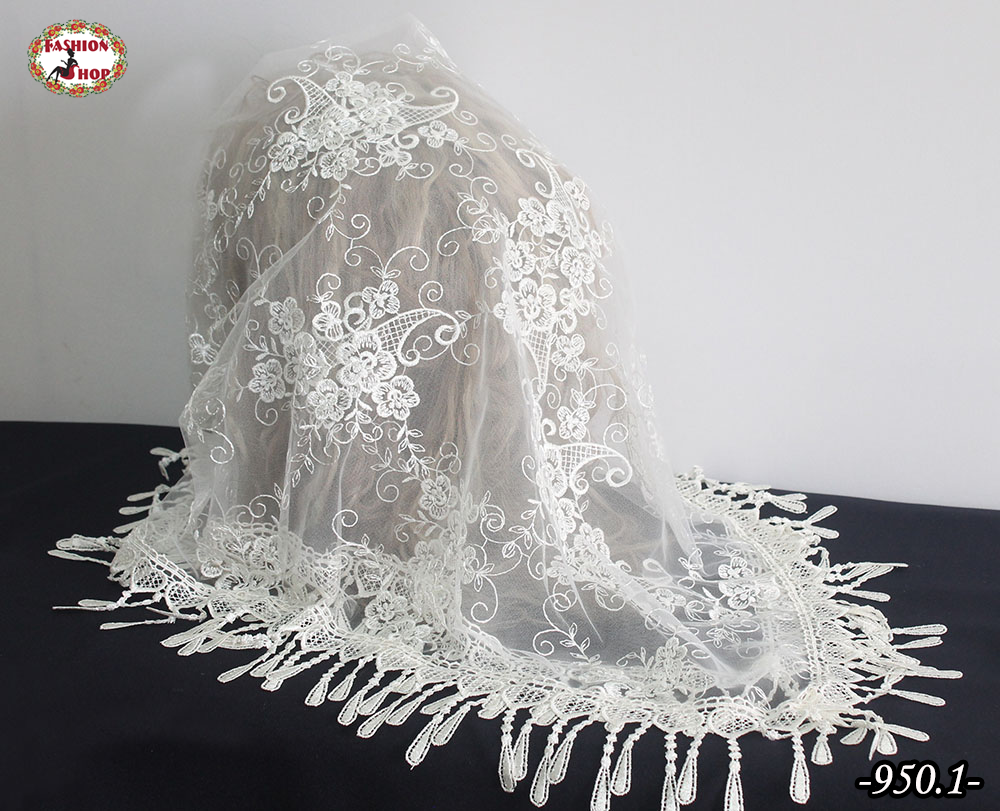 Свадебный платок Мила айвори жемчуг