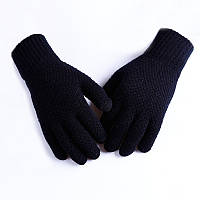 Мужские теплые черные трикотажные перчатки осень-зима