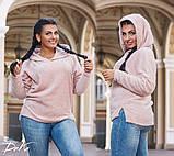 Модный женский джемпер с капюшоном  в размерах 50-52   54-56 , фото 4