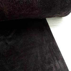 Плюшевая ткань двусторонняя темно-коричневая