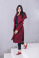 Пальто длинное из шерсти ангора марсала Д346