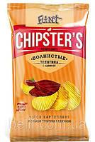 ТМ CHIPSTER'S Чипсы натуральные_волнистые_телятина с аджикой 70г