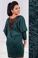 Осеннее теплое платье короткое полуоблегающее рукав три четверти сзади кружева ангора зелёное