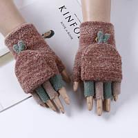 Женские перчатки-варежки с открытыми пальцами коричневые , фото 1