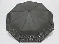 Жіночий парасольку повний автомат однотонний з широким кантом з зірочок і горошку чорний, фото 1