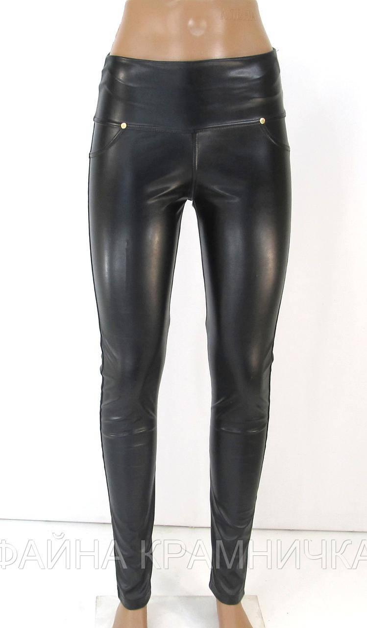 FR93185 Лосини жін шир пояс з кишен екошкіра чорний р.52