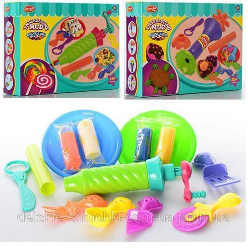 Пластилін MK 0498 4 кольори, апарат-прес, інструменти, 2 види, кор., 24-18-6 cм