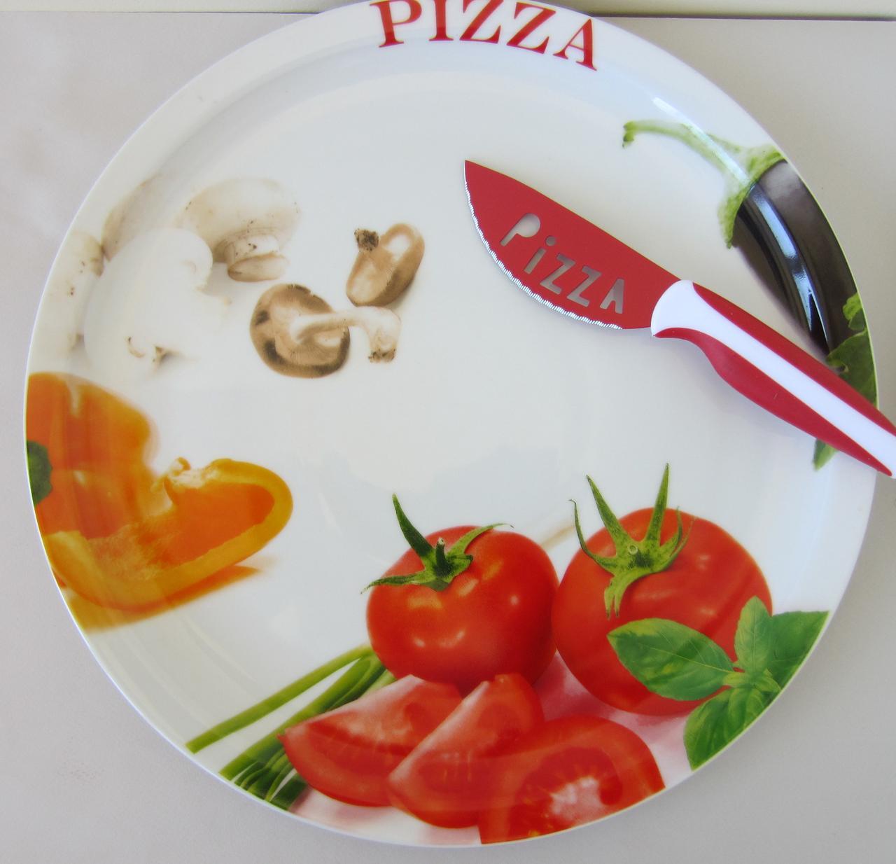 Набор для пиццы: тарелка и нож