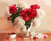 Картина по номерам Brushme Красно-белые пионы и вишни