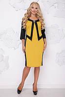 Женское платье большого размера ПАРИЖ ГОРЧИЦА+ЧЕРНЫЙ ТМ Lenida 50-62 размеры