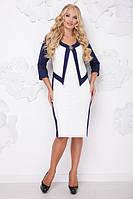 Женское платье большого размера ПАРИЖ ТЕМНО-СИНИЙ+БЕЛЫЙ ТМ Lenida 50-62 размеры
