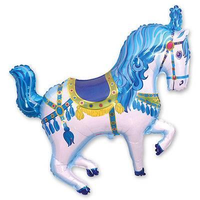 """Фольгированные шары мини-фигуры """"Лошадь цирковая голубая"""""""