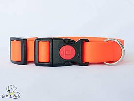 Ошейник из биотана, Оранжевый Неон, 25мм(пластик.фастекс)