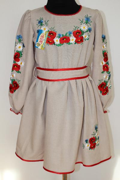 Вишите плаття для дівчинки  Подолянка-Орися сірий - Nikashop в Киеве fb92d278857a0