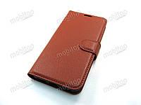 Кожаный чехол книжка Xiaomi Redmi Mi A2 Lite (коричневый)
