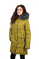 """Зимняя женская куртка """"Юлиана""""  (34) 48, Горчичный"""