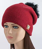 Зимняя вязаная шапка Азалия с помпоном из страуса кармин