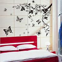 Самоклеющаяся  наклейка  на стену Бабочки и ветка  (115х110см)