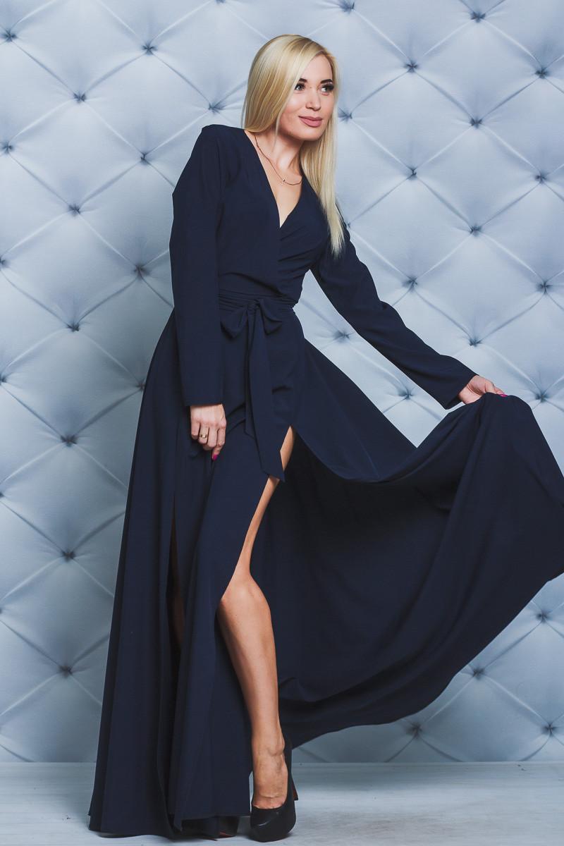 Платье нарядное в пол с разрезами т-синее