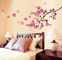 Самоклеющаяся  наклейка  на стену Цветущий персик  (165х75см)