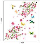 Самоклеющаяся  наклейка  на стену Цветущий персик и колибри (120х110см), фото 2