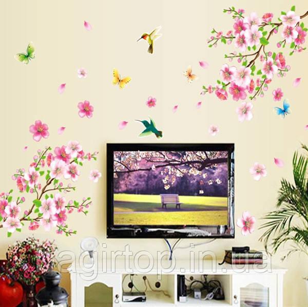 Самоклеющаяся  наклейка  на стену Цветущий персик и колибри (120х110см)