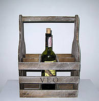 Деревянная подставка для вина Бокал на 6 бутылок коричневая, фото 1