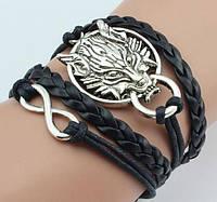 Плетеный браслет с львом, цвет - черный, фото 1