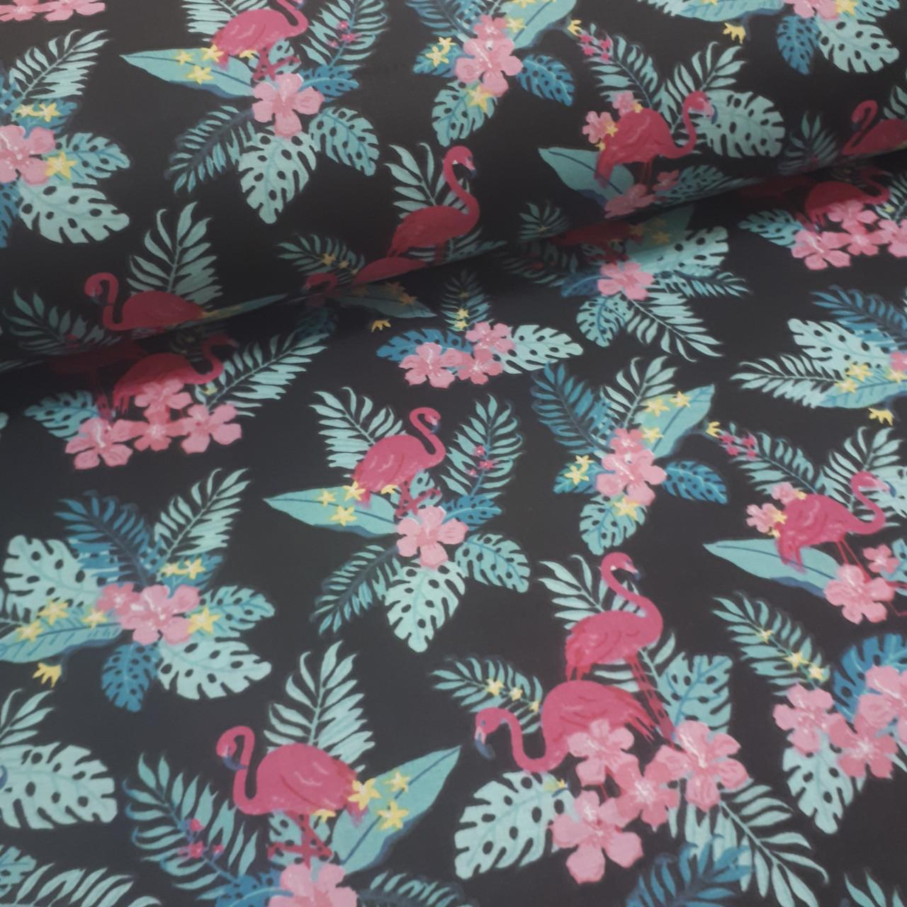 Ткань польская хлопковая, фламинго малиновые в цветах на черном