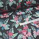 Ткань польская хлопковая, фламинго малиновые в цветах на черном, фото 3