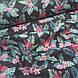 Ткань польская хлопковая, фламинго малиновые в цветах на черном, фото 4