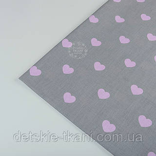 Отрез ткани №404а  с розовыми сердечками на сером фоне, размер 55*160