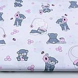 """Отрез ткани """"Маленькие мишки с сотами"""" розовые на белом №1273, фото 2"""