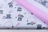 """Отрез ткани """"Маленькие мишки с сотами"""" розовые на белом №1273, фото 3"""