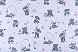 """Отрез ткани """"Маленькие мишки с сотами"""" розовые на белом №1273, фото 4"""