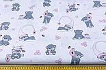 """Отрез ткани """"Маленькие мишки с сотами"""" розовые на белом №1273, фото 6"""