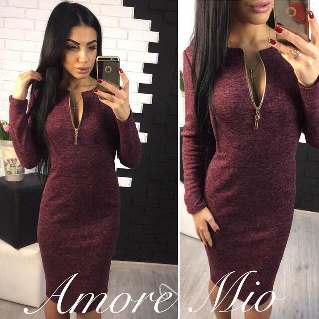 1054b8d29ad Теплое платье на осень миди приталенное с длинными рукавами змейка бордовое  -