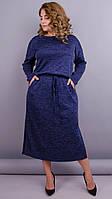 Леся. Однотонное теплое платье для пышных форм, фото 1