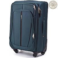 Классический средний тканевый чемодан 💼 Wings 1706 на 4-х колесах зеленого цвета👍