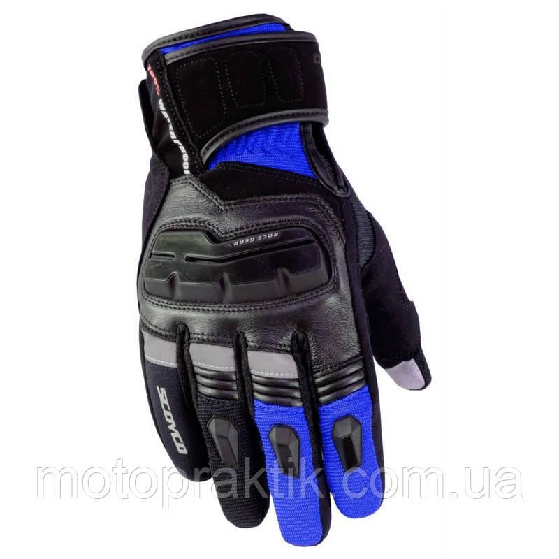 SCOYCO MC17 Gloves, Black/Blue, M Мотоперчатки текстильные влагостойкие