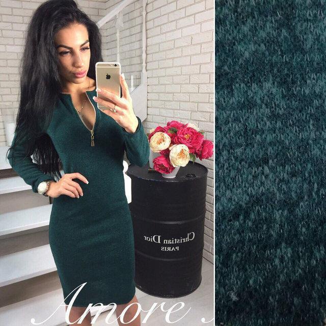 026549c489cafc3 Модное платье демисезонное до колен облегающее регулируемое декольте на змейке  цвет графит, цена 255 грн., купить в Николаеве — Prom.ua (ID#776623234)